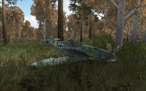 This Bf109F-2 crashed into some trees before landing here.