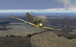 Trailing oil, this Bf109 is in serious trouble
