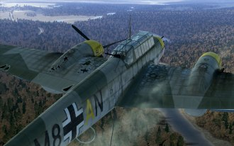 A Russian fighter hit this Bf110 hard, notice the port engine is out and the prop is feathered