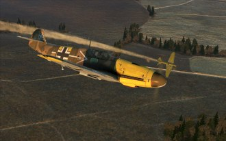 A Bf109F-2 pulls away from another victory