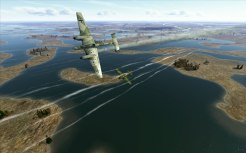 Chasing a Bf110 low over the lakes near Moscow
