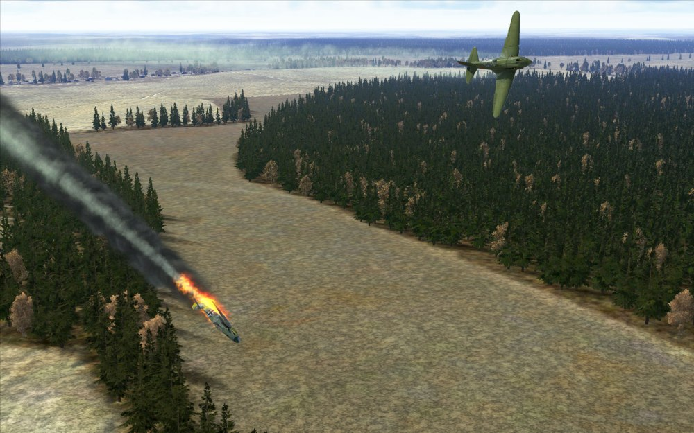 A 109 is seconds from crashing while this MiG-3 pulls away