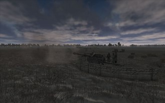 Artillery fires another shot under moody skies