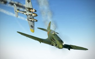 A Heinkel goes down in flames while my damaged MiG-3 pulls away