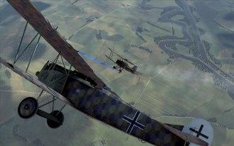 Fokker D.VIIF scores a kill on a SE5a