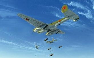 Three Pe-2s dropping bombs