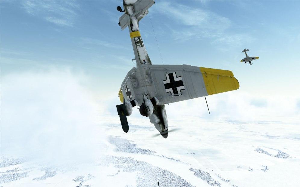 A Ju87 Stuka drops its bombs near Stalingrad
