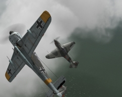 A pitched battle between a FW190 and a Yak-1B