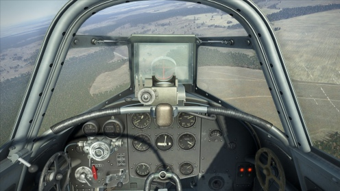 The forward view of the Yak-1B is good although the new armored glass does restrict vision slightly.