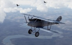 Pfalz D.IIIa flying over a river