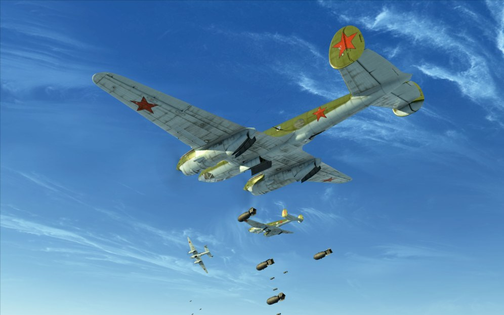 Pe-2s drop bombs and turn for home