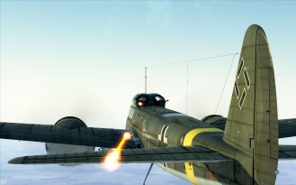 The upper rear gunner on a Ju88 lets loose!