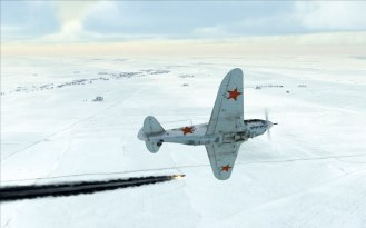 A LaGG-3 with 37mm cannon mod over the winter steppes