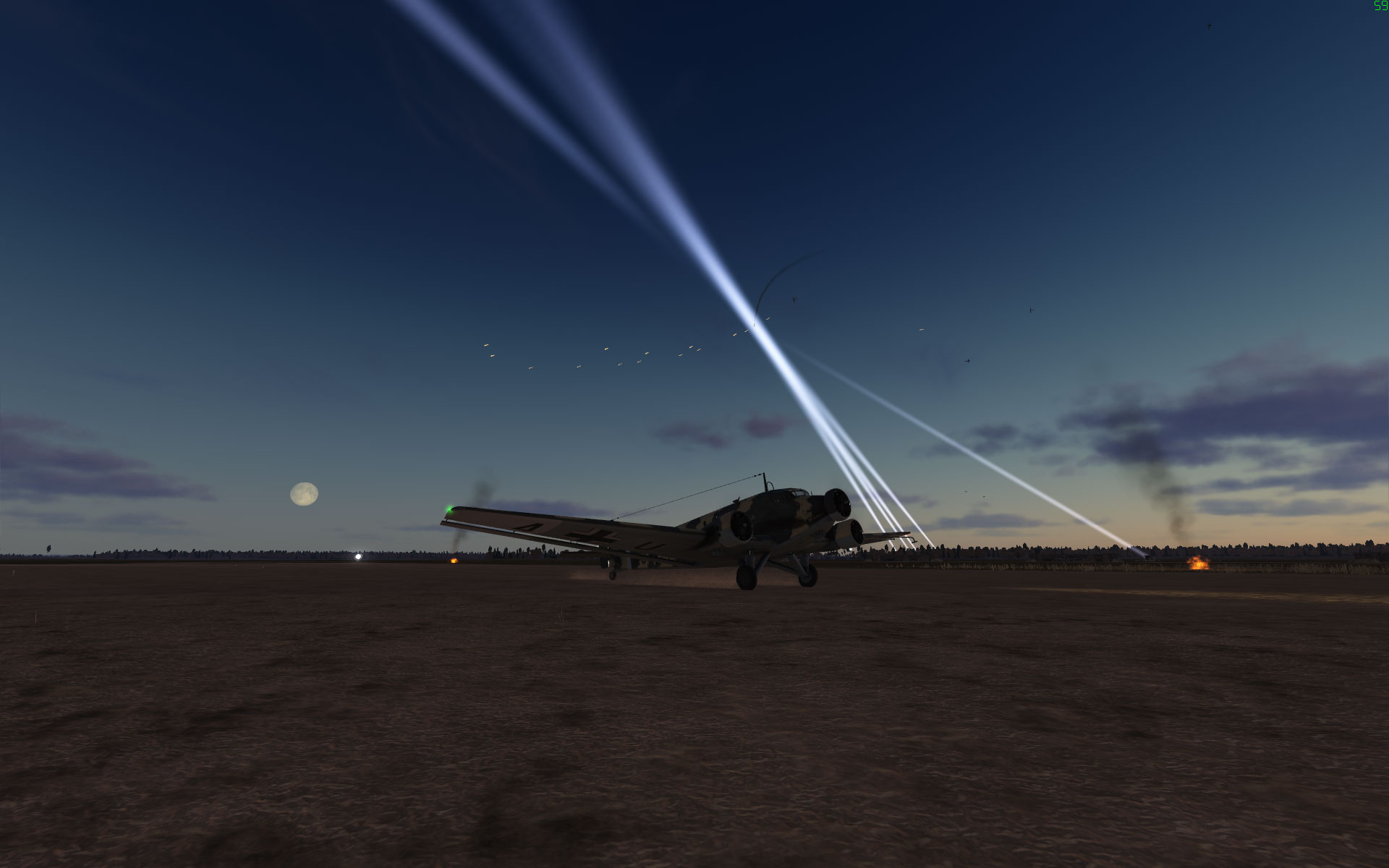 A Ju52 lands during a night raid