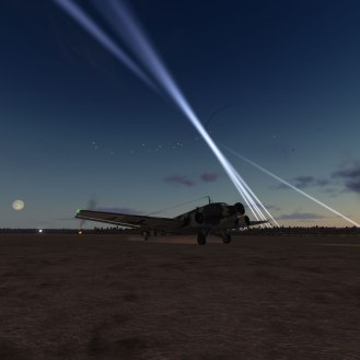 A Ju52 lands during a night raid