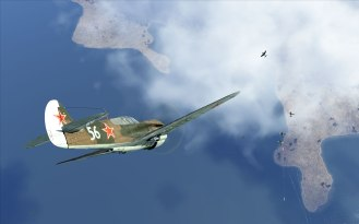 A P-40E drops down into an enemy formation
