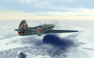 A Yak-1B flying over Stalingrad