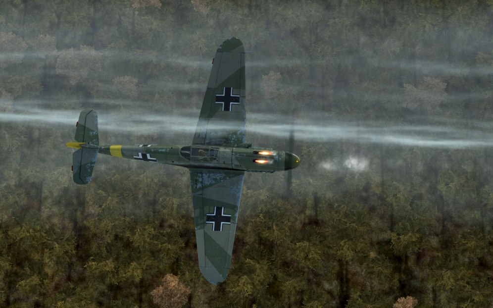 A Bf109F-2 in a treetop level fight