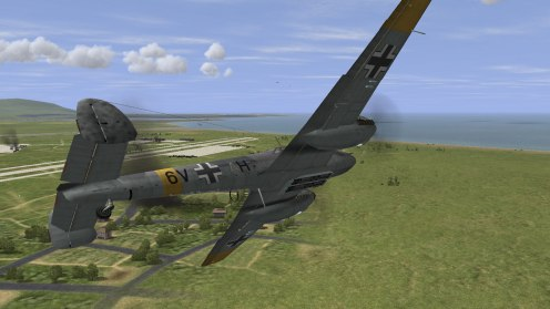 A Bf110E-2, new to the original IL-2 series, attacks an airbase