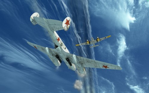 A Pe-2 comes under attack from a Bf110