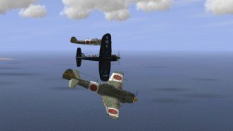 "F4U-1D Corsair bounces two Ki-84 ""Franks"""
