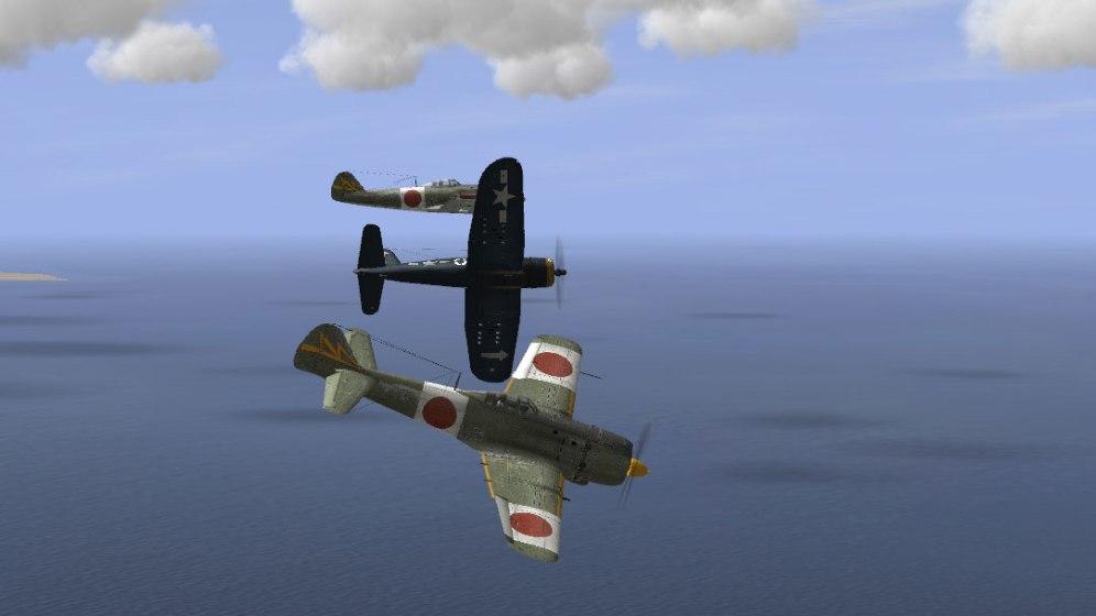 "F4U-1D Corsair bounces two Ki-84 ""Franks"""