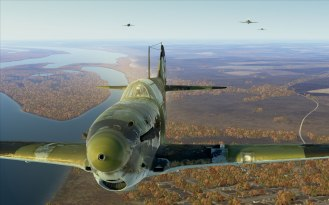 LaGG-3 fighters patrol over the Volga river near Stalingrad