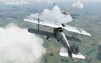 Pfalz D.III entering into a fight