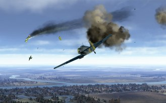 Friendly Bf109Es take out an I-16