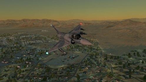 Return flight over the subburbs