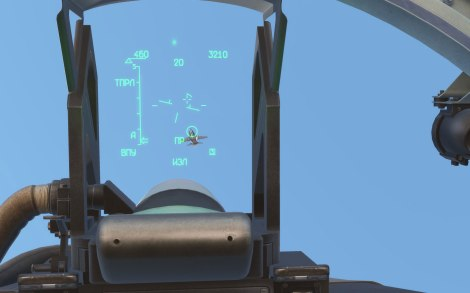 A view through the Su-27's HUD (DCS)