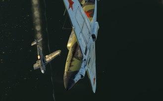 A Bf109 falls victim to a Yak-1's guns over the Volga river