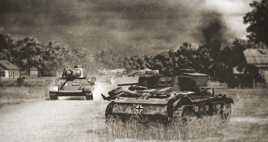 Т-34s of 62nd separate tank battalion enter the liberated stanitsa Krymskaya.