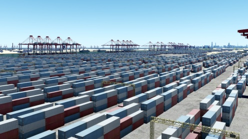 Massive shipping facilities and industrial areas are common on the map