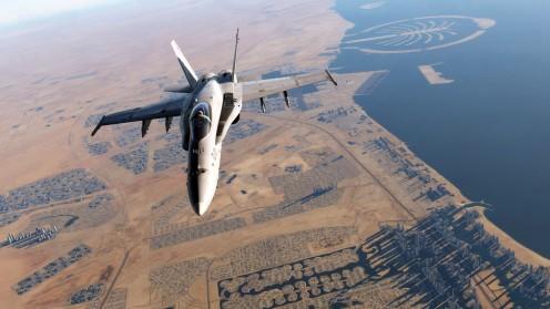 A Hornet flying over the new Strait of Hormuz map