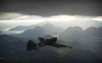 Tempest Mark V flies in a dramatic scene