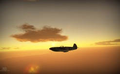 Yak-3 sihoutted by a sunset
