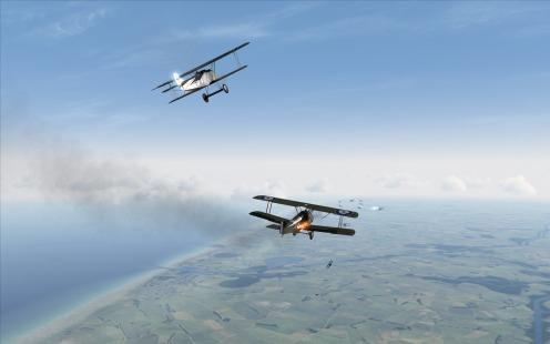 Fokker D.VII scores a kill on a Sopwith Camel