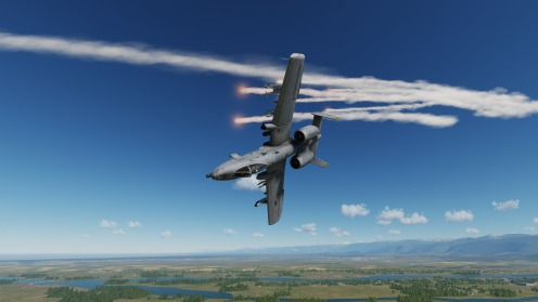Second attack run successful with a dramatic dive towards the ground with plenty of flares for effect.