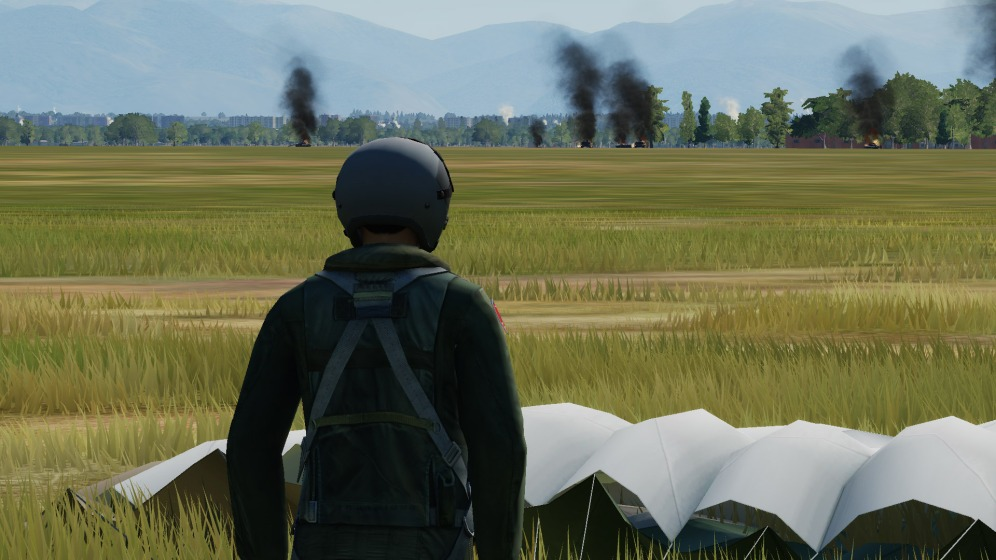Surveying the havoc on the ground from the vantage point of my downed pilot.