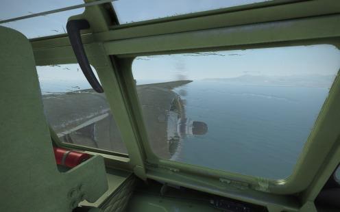 Water streaks across the canopy of an A-20B