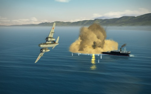 And the bombs skip into the side of the ship and explode