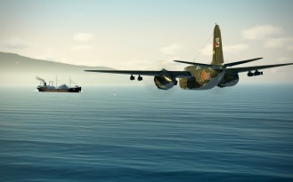 A German cargo ship comes under skip bombing attack by an A-20