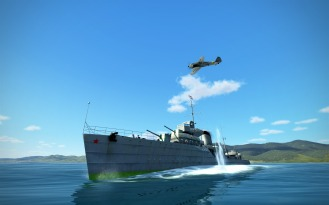 The bomb glances off the side of the ship and lands in the water next to it.