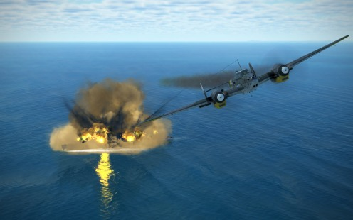 Bf110G-2 pulls up after a successful skip bomb attack