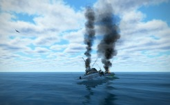 The Type 7 destroyer capsizes