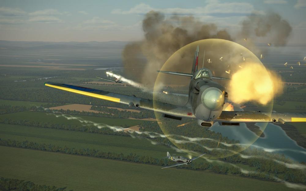 Bf109G-14-Spitfire-fire