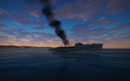 Another ship on fire from a strafing run