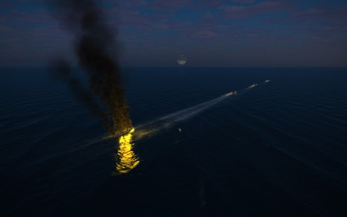 One of the ships burns from the strike