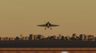 F-18-landing-city